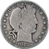 1915 D 50c Barber Silver Half Dollar US Coin Average Circulated