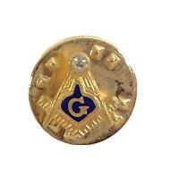 Vintage Ballou Reg'd Freemasonry Lapel Pin Blue / Gold Geometry Mason Gem Stone
