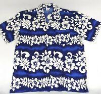 Koko Knot Hawaiian Short Sleeve Camp Shirt Men's Large Blue Vintage Aloha Rayon