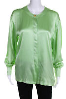 Escada  Womens Long Sleeve Blouse Mint Green Silk Size 36