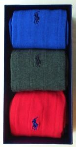 Polo Ralph Lauren Men's Dress Socks 3 Pack Large Blue Grey Red w Gift Box Cotton