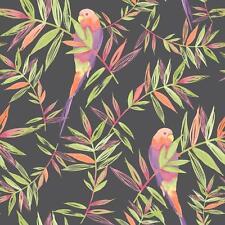 Rasch loros Patrón de Pájaro tropical hoja pintado motivo rollo papel