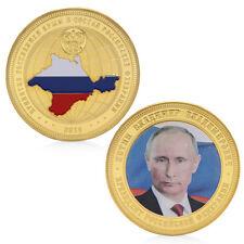 Golden Russia President Putin Crimean Map Commemorative Challenge Token Coin