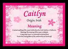 Caitlyn Personalised Name Meaning Placemat