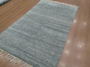 5'6x 9' Rug | Handmade Hand Knotted Wool Gray  Area Rug