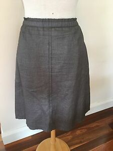 Country Road Linen Mix Brown Sparkle Skirt - Size 12