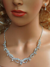 Bridal Crystal Necklace Earrings Set Prom Wedding Pageant Jewelry N1D7