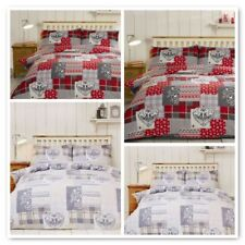 Rapport Alpine Patchwork FLANNELETTE duvet cover sets Red and Natural. All sizes