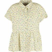 CYNTHIA ROWLEY Women's Yellow Lemon Print LINEN Shirt Top, size M