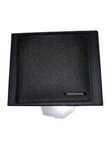 Ermenegildo Zegna Chevron grey canvas/leather wallet, New, Made in Italy