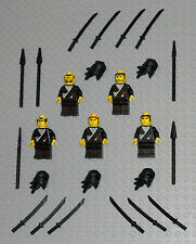 LEGO Minifigures Lot 5 Black Ninjas w Samurai Swords Katanas Lego Minifigs Guys