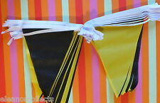 20m Black and Yellow Triangle Bunting Rugby Football Sports School Business bnip