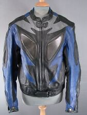 SUPERB BLACK, BLUE & SILVER LEATHER BIKER JACKET WITH REMOVABLE PROTECTORS 44IN