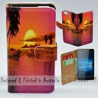 For Nokia Series - Summer Sunset Theme Print Wallet Mobile Phone Case Cover