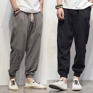 New Mens Summer Cotton Linen Pencil Harem Pants Loose Casual Long Trousers Sport