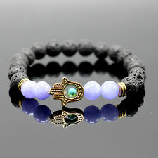 Men's Natural Fashion Spot Stone Beaded Stretch Hamsa Evil Eye Lucky Bracelet