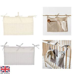 Linen Baby Crib Hanging Storage Bag Baby Cot Bed Organizer Toy Diaper Pocket UK