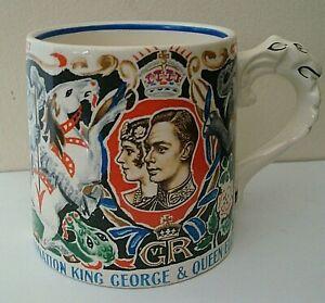 VINTAGE DAME LAURA KNIGHT KING GEORGE & QUEEN ELIZABETH CORONATION MUG MAY 1937