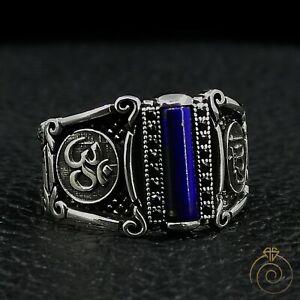 Mens Lapis Stone Silver Allah Ohm Ring Arabic Buddhist God Religious Aum Jewelry