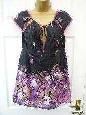 MEGHAN Ladies 6 8 Teen Black Purple Floral Cut Out Silk Blend Party Tunic Top