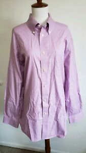 Kenneth Roberts Platinum Men's 17 34/35 Purple Lavender L/S Dress Shirt Pocket