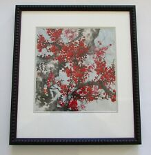 Original Signed Asian Red Cherry Blossom Ink Wash Painting Huston Tuttle Gallery