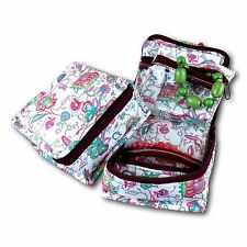 Handmade Quilted 100% Cotton Cosmetic Jewelry Bag Travel Case Floral Multi