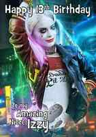 Harley Quinn Suicide Squad personalised A5 birthday card niece sister name age