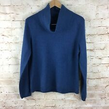 Talbots Long Sleeve Blue Cowl Turtleneck 100% Cashmere Sweater Large Petite