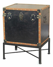 New Faux Leather Trimmed Square Storage Trunk, End Table on Metal Stand