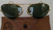 "1980's VINTAGE RAY-BAN B&L USA ""AVIATOR GOLD G-15 L0205"" 58[]14 & ORIGINAL CASE"