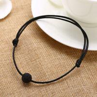 Simple Black Lava Stone Bead Adjustable Essential Oil Diffuser Leather Bracelet