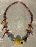 Vintage Tropical Tiki Parrot Necklace Painted Wooden Carved Beads & Pink Birds