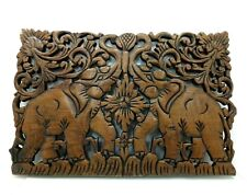 THAI ELEPHANT TEAK WOOD CARVED WALL HANGING QUALITY ART PANEL SCULPTURE HANDCRAF