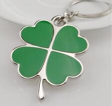 Shine Large Green 4 Heart Leaf Clover Keyring Keychain Shamrock Lucky Irish Gift