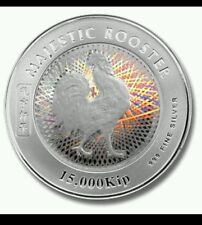2005 Laos Majestic Rooster Silver Coin Hologram Effect 15000Kip 3800 mintage