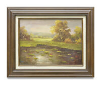 NY Art- Water Lilies in the Pond 12x16 Impressionist Oil Painting with Frame!
