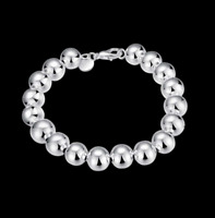 Womens 925 Sterling Silver 10mm Beads Ball String Chain Fashion Bracelet #B293