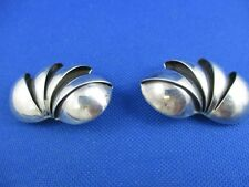 VINTAGE STERLING SILVER ARMADILLO SHELL SHAPED CLIP EARRINGS