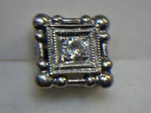 VINTAGE 14K WHITE GOLD DIAMOND TIE TACK