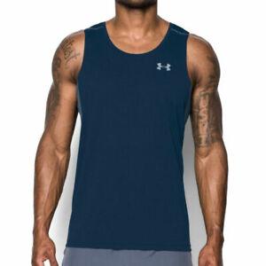 Under Armour UA HeatGear Transport Singlet Mens Blue Sports Training Vest M