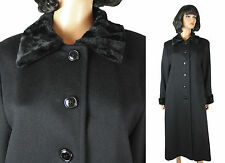 Princess Coat M Long Black Soft Wool Faux Fur Collar Cuffs Winter Trench Jacket