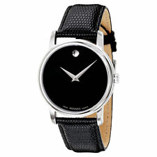 New Movado Museum Black Dial Leather Strap 2100002 Mens Swiss Watch
