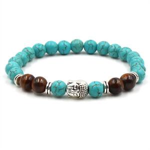 8mm turquoise tiger eye Gemstone Buddha mala bracelet Healing Pray Cuff