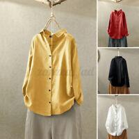 UK Women Summer Long Sleeve Blouse Tee Top Cotton Linen Ladies Button Down Shirt