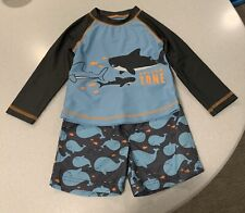 Carter's Baby Boy's Swim Suit Trunks Rash Guard T-Shirt Set Sharks/Whale 24 M