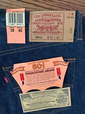 Vintage NWT LEVIS 501xx Shrink to Fit Button Fly Jeans USA 1993 38x40 Deadstock