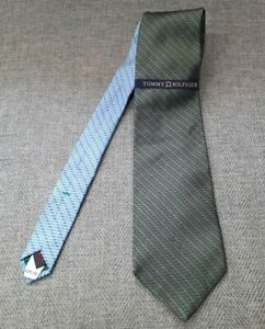 Tommy Hilfiger Men's Necktie Green Blue 100% Silk Brand New With Tags Free Ship