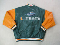 VINTAGE Miami Hurricanes Jacket Adult Extra Large Green Orange Letterman Mens *
