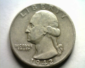 1942-D WASHINGTON QUARTER EXTRA FINE XF EXTREMELY FINE EF NICE ORIGINAL COIN